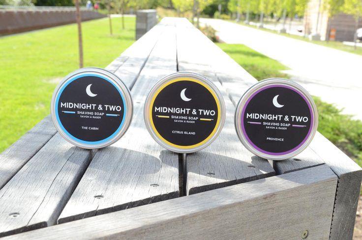 Midnight & Two's three shaving soaps. With special mention to #yyc backdrop (Kensington & Memorial) www.midnightandtwo.com #design #malegrooming #shavesoap