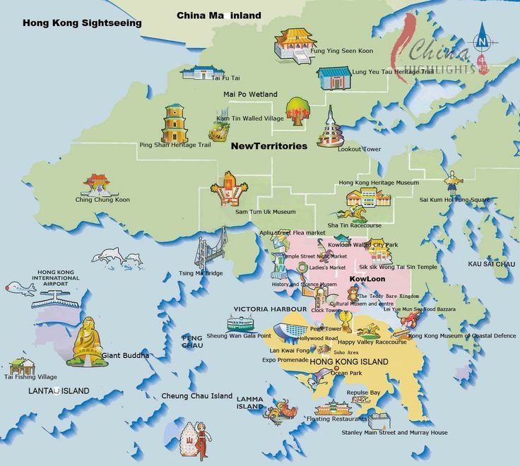 Tourist and travel map of Hong Kong