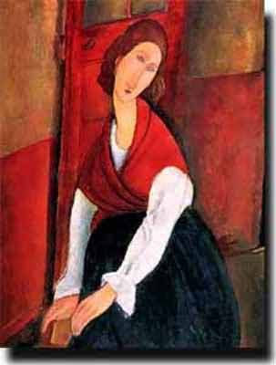 Amedeo Modigliani Jeanne Hebuterne A Door in the Background - More ...