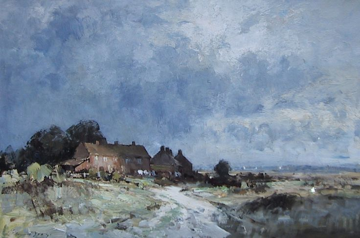 Edward Seago Norfolk - Cottages by the Marsh Oil on board - Portland Gallery, London