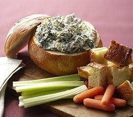 panera recipe: a spinach artichoke dip in a bread bowl