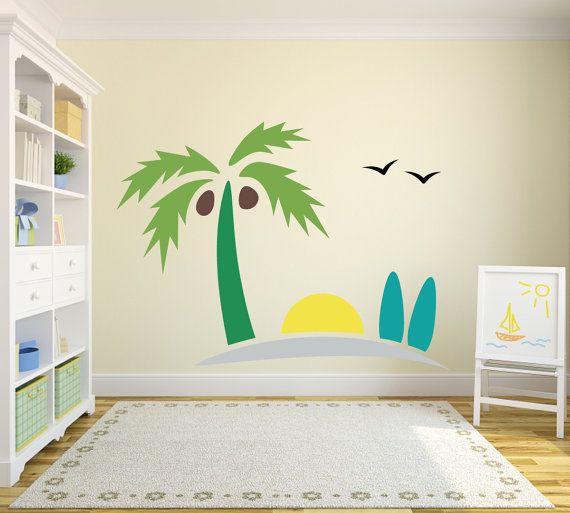 Exceptional Wall Decal Beach Sand Sun And Surfboards For Nursery Playroom Or Bedroom  Wall Vinyl Decor