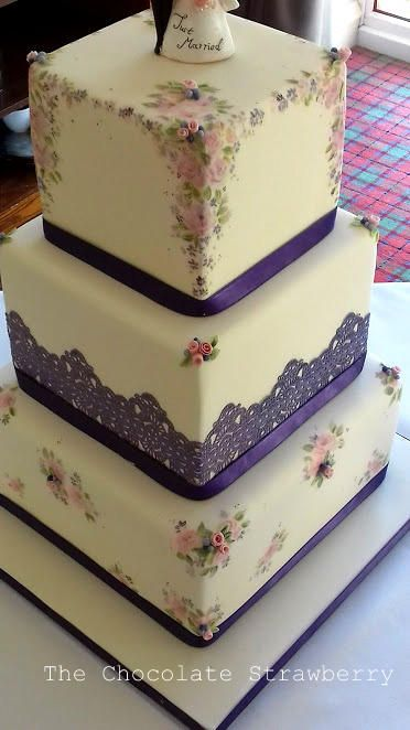 Hand-painted Ditsy Wedding  by Sarah Jones - http://cakesdecor.com/cakes/276386-hand-painted-ditsy-wedding