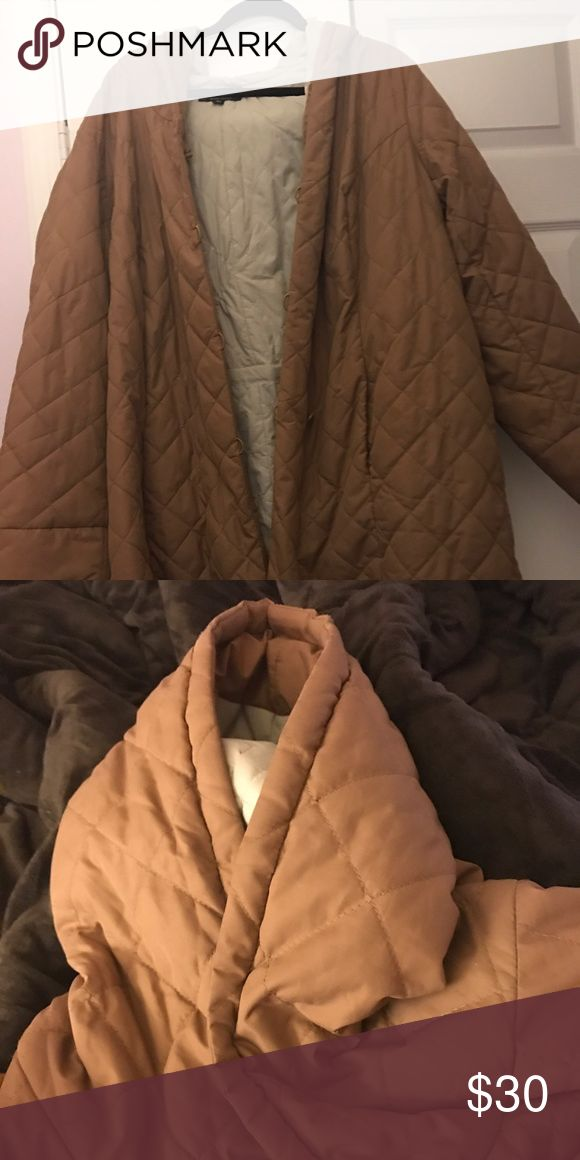 Nude/Tan Long Light Puffer Jacket w/ Hood This pre-loved light yet warm puffer jacket has beautiful nude/tan hue as well as a hood for extra warmth. It is a button up with buttons down the middle front.  Great coat for Curvy Girls who want to be fashionable & warm! dennis basso Jackets & Coats Puffers