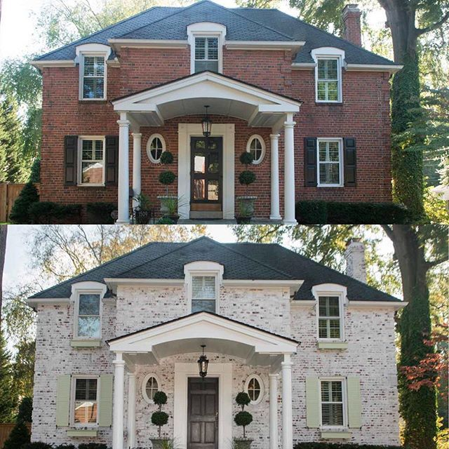 Before and after with Classico Limewash paint. Application by HJ Holtz & Son in Richmond, VA. This paint is an easy, one coat process that is breathable, durable, and beautifies your brick. Available at the Home Depot in 7 colors.