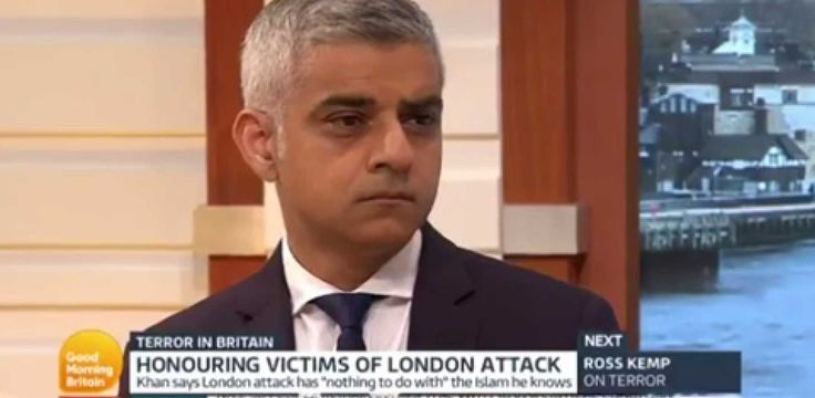 """mayor of London, Sadiq Khan, is convinced London is """"the safest global city in the world.""""    Yes, that would be the city where seven innocents were murdered in cold blood at the hands of radical Islamic terrorists with backgrounds filled with glaring red flags, including an appearance on the British documentary The Jihadis Next Door — and no, that's not hyperbole."""