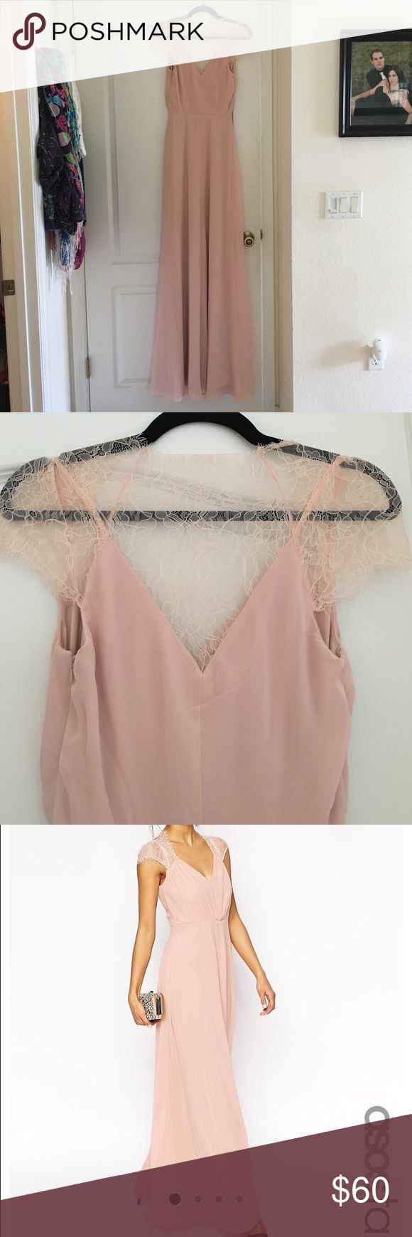 ASOS Blush Bridesmaid Long Dress size 4 This dress is a beautiful tall bridesmaid dress in a blush pink color. V neck top with lace sleeves and lace detailing across the back and shoulders. New with tags. Not hemmed. Asos Dresses Maxi