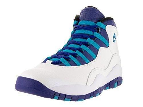 Nike Jordan Mens Air Jordan Retro 10 WhiteConcord Blue Lagoon Blk  Basketball Shoe 85