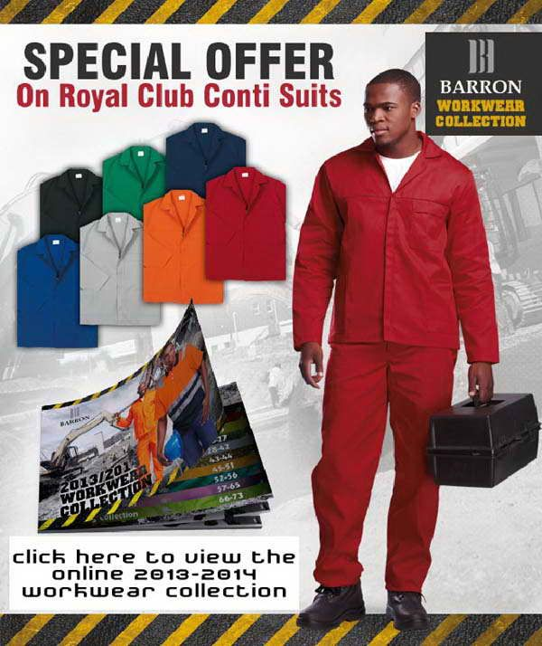Description: Min Order of 5 Units  Jacket features include concealed metal zip, two side pockets and chest pocket. Pants with ½ elasticated waistband, triple-stitched on inner leg and back rise, two side pockets and one back pocket. Available in seven colours. 190g 80/20 Poly cotton fabric. Reinforced bar-tacked seams and all stress points and Monza chest pocket.  Royal - From R89.99  Orange, Navy, Black, Emerald, Red, Grey	From R94.99