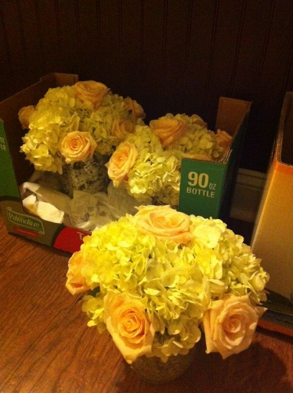 Costco Roses and Hydrangea Centerpieces