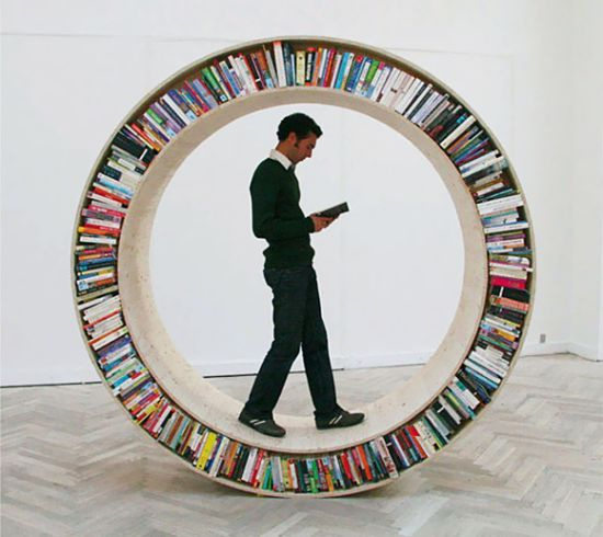 Step in and roll over the 'Circular Walking Bookshelf'