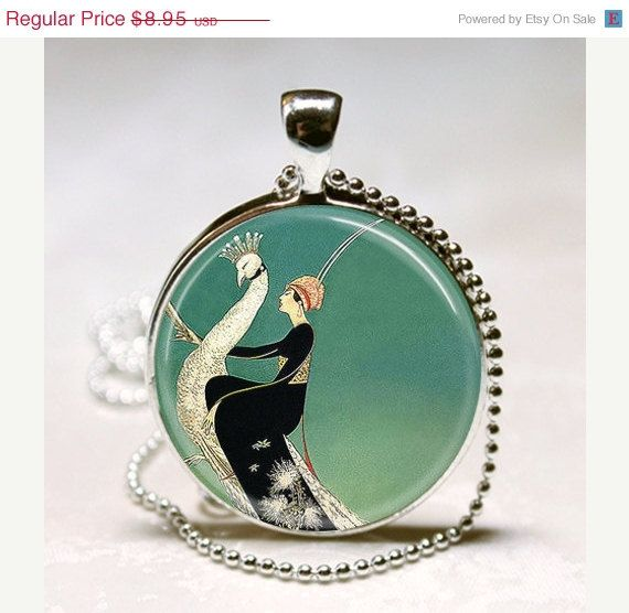 Gifts for Maids? Art Deco Jewelry Woman on White Peacock Emerald Green Glass Bezel Art Pendant with Ball Chain Necklace Included (ITEM B047). $7.61, via Etsy.