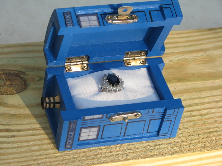 TARDIS Inspired Small Painted Blue Box. $15.00, via Etsy.: Princesses Diana, Future Husband, Rings Boxes, Doctors Who, Wedding Band, Wedding Rings, Tardis Rings, Engagement Rings, Princesses Kate