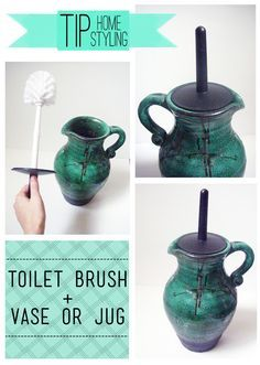 I just so happened to have an old vase that perfectly fit the toilet brush. However, if you don't have one that fits - just measure the diameter  of your brush and head to the nearest Hobby Lobby (that's where I got mine) or thrift store. It's so easy and looks a million times better.