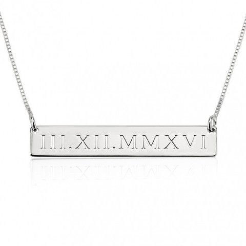 Sterling Silver Roman Numeral Engraved Bar Necklace