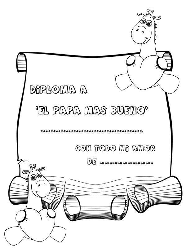 Dibujos Para Colorear Diploma Para El Padre Mas Bueno Día De Papá