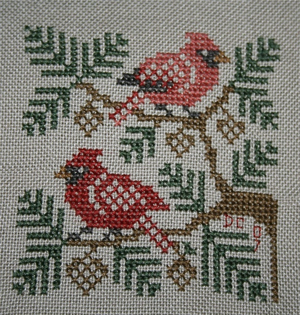 Cardinals in Cross stitch by DianthusMoon  (......cr....I have this folder from Prairie Schooler....it is the one with all sorts of bird squares)