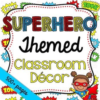 This bundle has everything you need to decorate your classroom and more! It features a superhero theme. It includes over 500 printables as well as some editable files.  This set includes:  •Printable PDF Files -Accents -Alphabet -Awards (Merit, Student of the Week/Month, Birthday) -Bathroom Passes -Behavior Chart -Birthday Display -Bunting -Calendar Set (Months, Days of the Week, Today is..., Days in School, Weather) -Center Signs -Classroom Jobs -Classroom Rules -Clock Minutes -How We Get…
