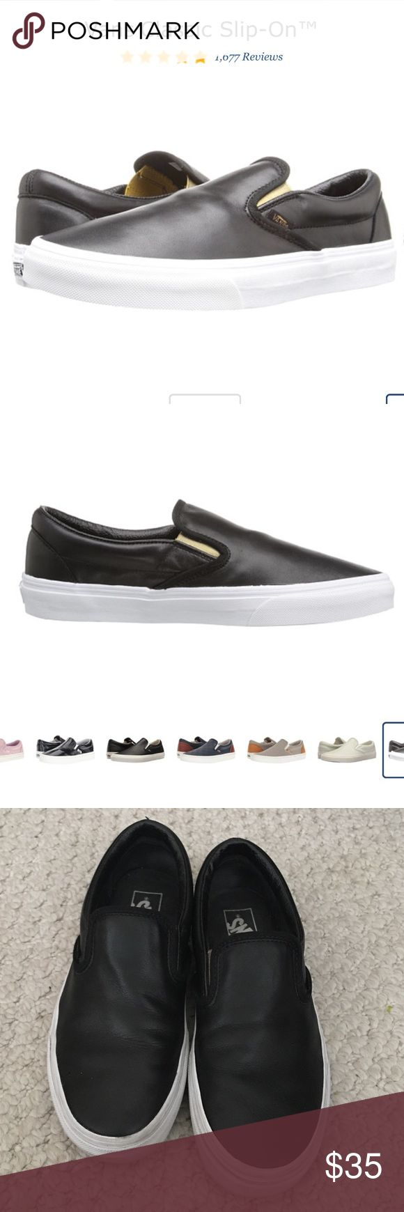 Vans classic slip on black leather Beautiful black slip ons with gold detail. Like new condition. Vans Shoes Sneakers