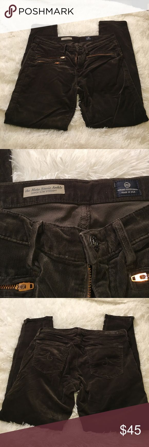 """👖Women's AG Jeans """"Stevie Ankle Moro Cords"""" 👖 Women's AG Jeans. """"Stevie Ankle Moto Corduroy"""", Zipper slim straight. Size 30R. Inseam 28 AG Adriano Goldschmied Jeans Straight Leg"""