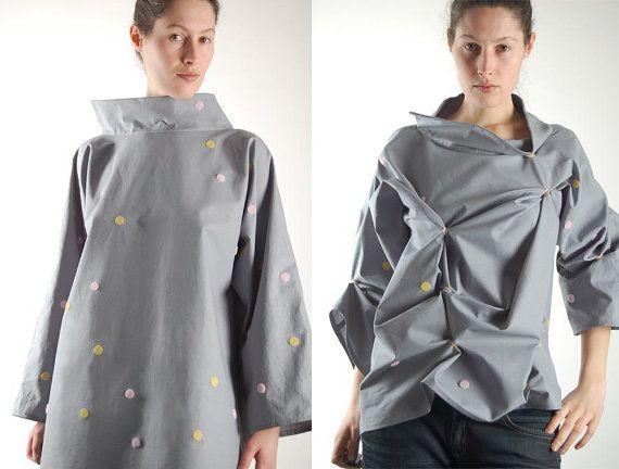 origami blouse, veranderbaar, haute couture top, kunst kleding, vrouwen blouse, unieke top, vrouwen blouse, katoenen blouse, katoen blouse