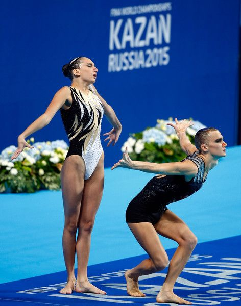 Aleksandr Maltsev Photos Photos - Aleksandr Maltsev and Darina Valitova of Russia compete in the Mixed Duet Free Synchronised Swimming Final on day six of the 16th FINA World Championships at the Kazan Arena on July 30, 2015 in Kazan, Russia. - Synchronised Swimming - 16th FINA World Championships: Day Six
