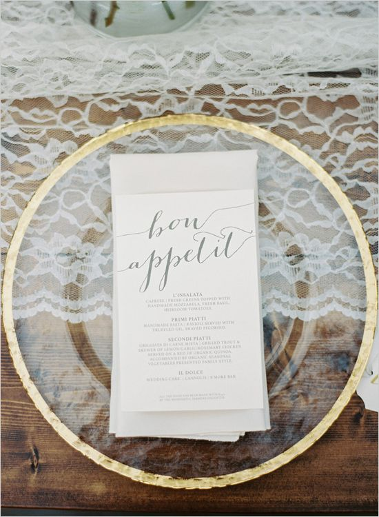 calligraphy wedding menu | gold rimmed plates | lace table runner | lake wedding | #weddingchicks