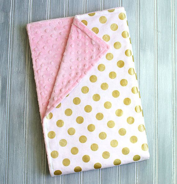 Baby Blanket Gold Polka Dots On White With Pink Minky