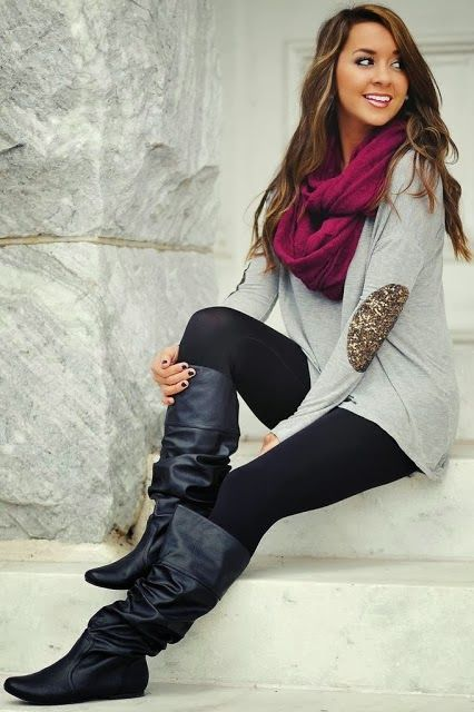 Adorable fall trend with elbow patch blouse, red scarf and long boots