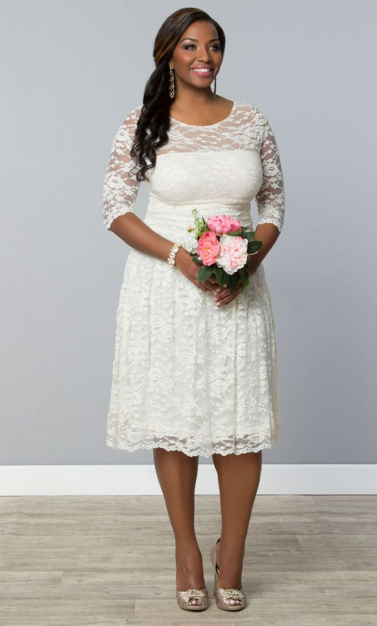 73 best wedding images on pinterest boleros strapless gown and 7 gorgeous short plus size summer wedding dresses beautifully simple short lace plus size summer wedding dress with three quarter sleeves junglespirit Images