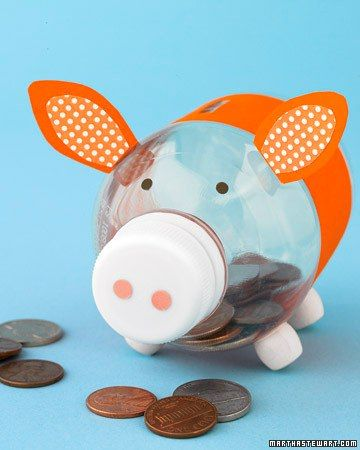 Have your kids make a super-cute piggy bank out of craft paper and a water bottle