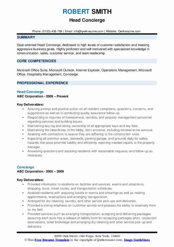 Concierge Job Description Resume New Concierge Resume Samples Good Resume Examples Resume Kindergarten Jobs