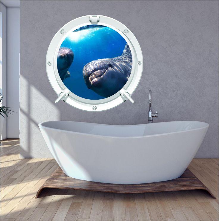 Dolphin Bathroom Bedroom Porthole Wall Art Sticker Decal by WallPrintCreations on Etsy https://www.etsy.com/listing/198167031/dolphin-bathroom-bedroom-porthole-wall