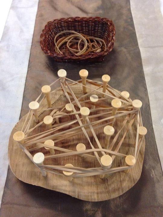 "Tree stump geoboard with golf tees & elastic bands - from Fingadingadoo ("",)"