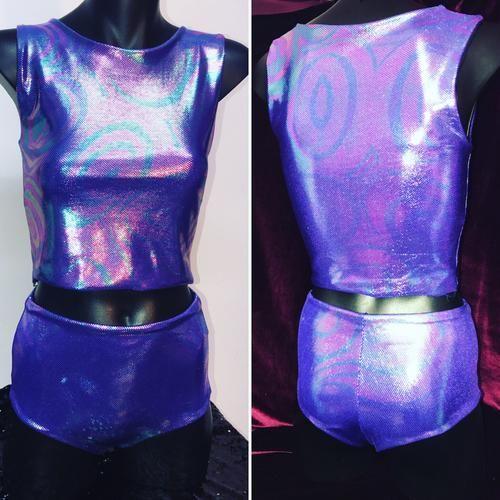 S - Soraya Crop Top and Jaimee Short Set -Purple Lollypop