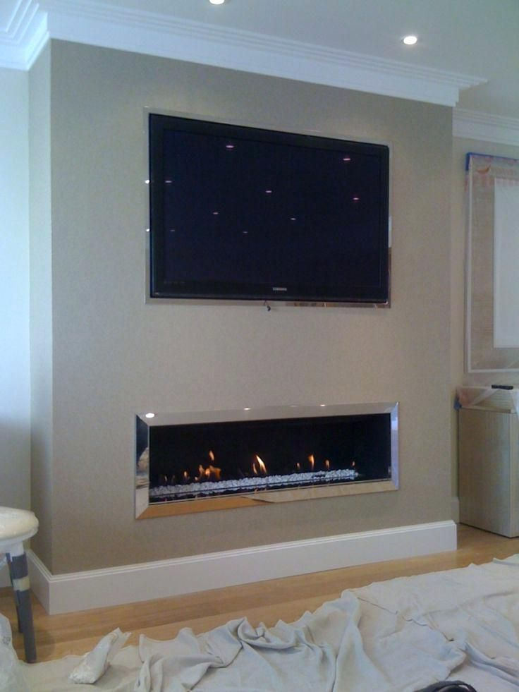 Low Profile Fireplace With Tv Above Linear Fireplace With Above