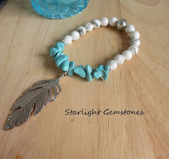 Beach Comber - White Howlite with Stabilized Genuine Turquoise Chips and Silver Leaf Charm.
