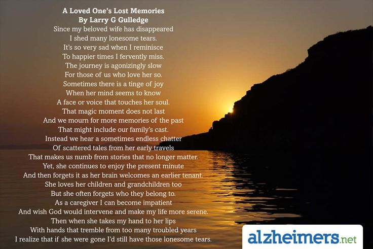 A Loved One's Lost Memories By Larry G Gulledge #Alzheimers #Poems