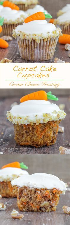 These are the moistest, most delicious Carrot Cake Cupcakes   A recipe I learned in culinary school that my husband said were the best ever!