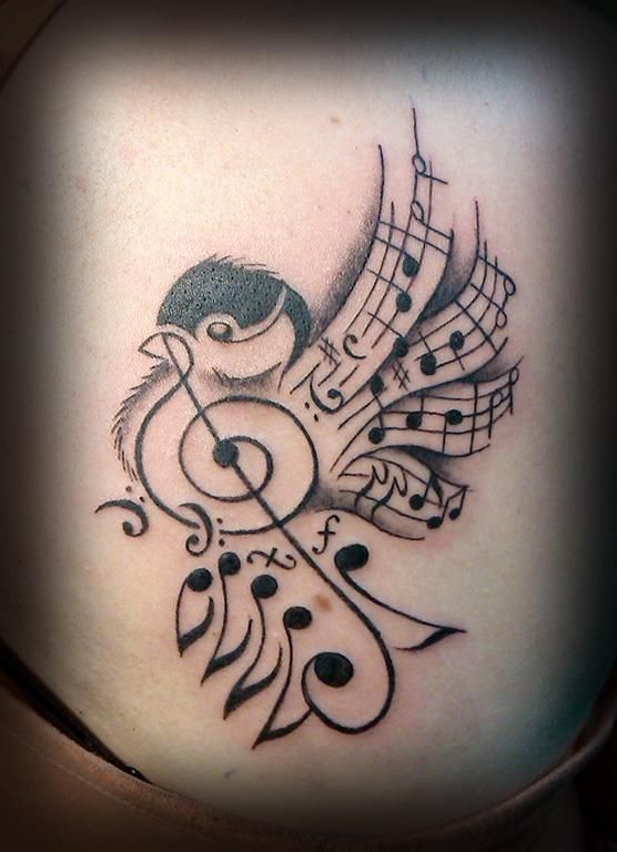 Music songbird made from musical notes. Tattoo tattoos design from chickadee comprised from sheet symbols.