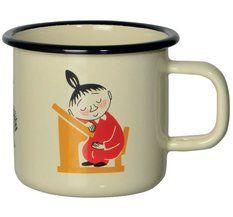 Enamel mugs with various Moomin designs.
