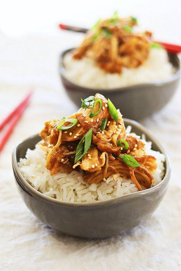 Crock Pot Honey Teriyaki Chicken - tender chicken with sweet, savory, and delicious honey teriyaki sauce. Super quick, easy, and takes only 10 mins to prep! | rasamalaysia.com