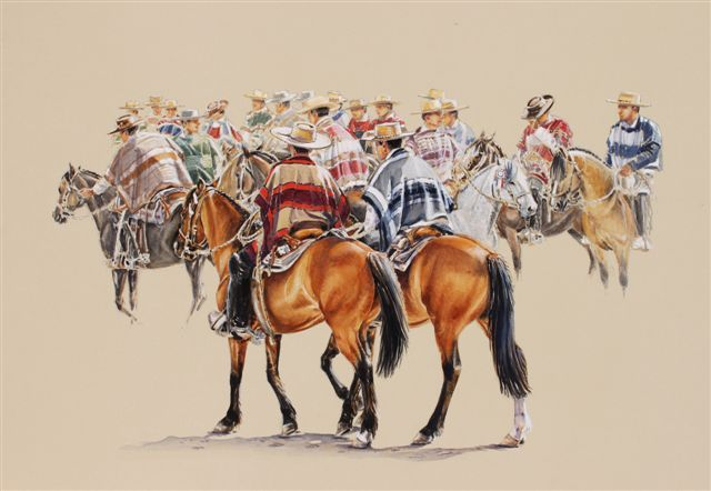 Horse paintings: Australian artist Ros Tomlinson - Horse Riding Chile