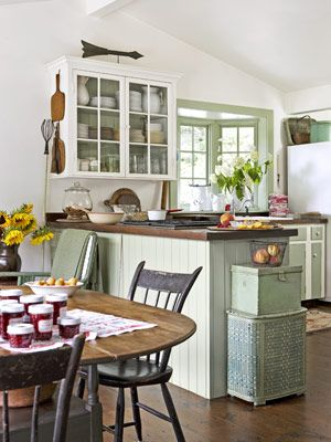 Fresh Green Kitchen    The owners of this Connecticut farmhouse borrowed from the verdant outdoors when creating the palette for the kitchen, hand-mixing the green paint used on the trim, work island, and some cabinet doors. Old chestnut boards reclaimed from the attic pave the room's floor.