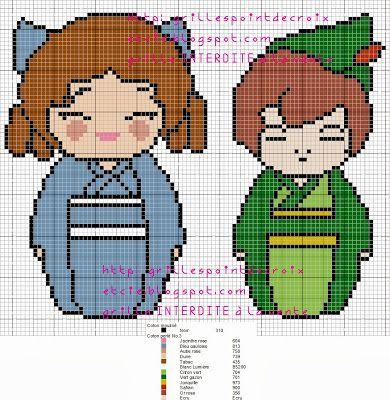 Wendy Darling and Peter Pan Kokeshi Cross Stitch Pattern
