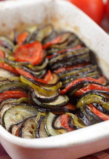 Auberginen-Tomaten-Zucchini-Auflauf - vegetarisches Rezept low carb und extra gesund