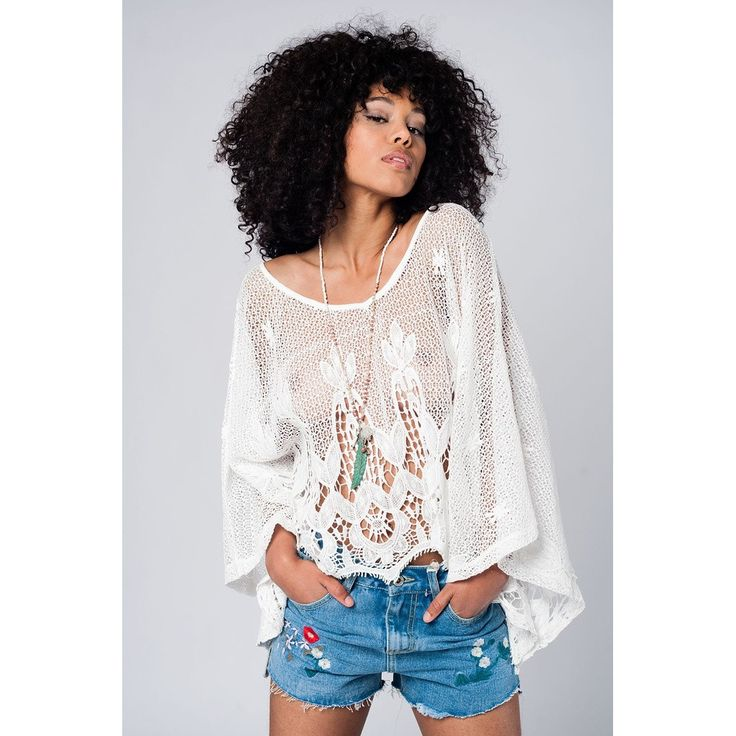 Vendor: Q2 StoreType: Women - Apparel - Shirts - BlousesPrice: 65.00  White oversized crochet top with wide long sleeves and round neck it is perfect to wear it by the seaside or on a summer night out. Color: White  Material: 100% Cotton  Item Fit / Dimensions: Relaxed fit  Made In: United States  Shipped From: United States  Lead Time: 1 - 2 Days  Oversized crochet top in white
