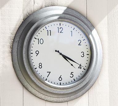 Galvanized Metal Oversized Outdoor Clock #potterybarn