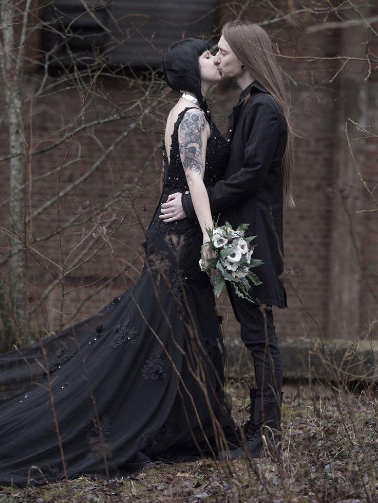 Black Gothic Beading Mermaid Gorgeous Wedding Dress Devilnight Co