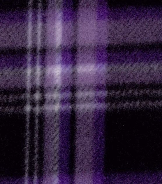 Blizzard Fleece Fabric- Purple Black Plaid: